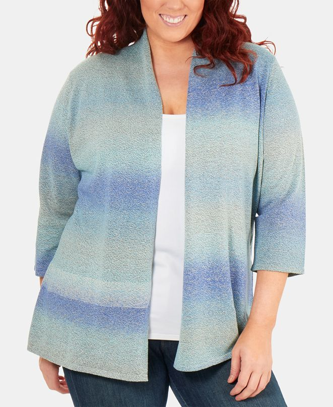 NY Collection Plus Size Open-Front Ombre Cardigan