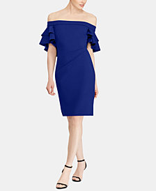 Lauren Ralph Lauren Tiered-Overlay Crepe Dress