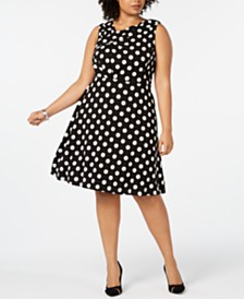 Taylor Plus Size Printed Sleeveless Fit & Flare Dress