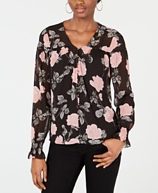 GUESS Lisse Printed Flared-Sleeve Blouse