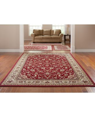 KM Home Area Rug Set, Florence Collection 4 Pc Set Kashan Red
