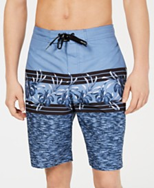 "Calvin Klein Men's Hibiscus Geo Print 10"" E-Board Swim Trunks, Created for Macy's"