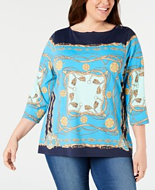 Charter Club Plus Size Scarf-Print 3/4-Sleeve Top, Created for Macy's