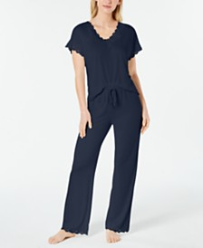 Charter Club Lace-Trimmed Soft Knit Pajama Set, Created for Macy's