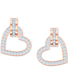 Swarovski Rose Gold-Tone Pavé Heart & Circle Drop Earrings