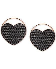 Swarovski Rose Gold-Tone Ginger Pavé Heart Stud Earrings