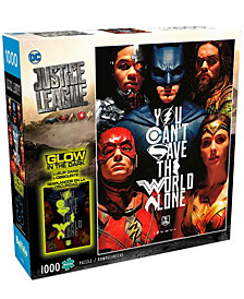 Justice League - You Can't Save the World Alone Glow-in-the-Dark Jigsaw Puzzle- 1000 Pieces