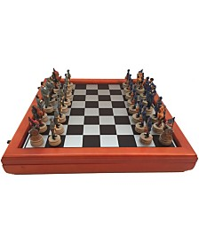 """3.25"""" Civil War Generals Painted Resin Men Chess Set with Cherry Stained Chest Board"""