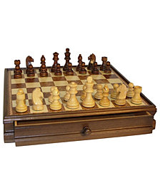 "15"" Walnut and Maple Drawer Chest Chess Set"