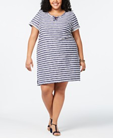 Style & Co Plus Size Striped Grommet and Lace-Up Dress, Created for Macy's