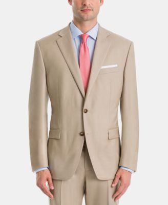 Men's UltraFlex Classic-Fit Tan Wool Suit Jacket