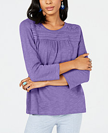 Style & Co Petite Cotton 3/4-Sleeve Top, Created for Macy's