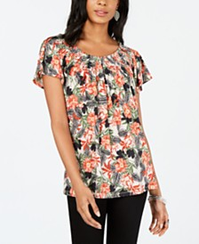 Style & Co Petite Printed Pleated Scoop-Neck Top, Created for Macy's