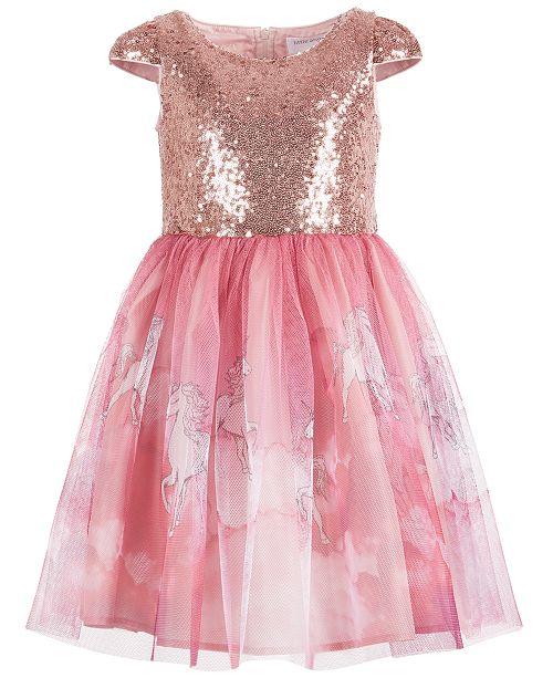 Us Angels Little Girls Sequin Unicorn Print Dress