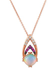 "Neopolitan Opal (3/4 ct. t.w.), Passion Ruby Accent & Nude Diamonds (1/10 ct. t.w.) 18"" Pendant Necklace in 14k Rose Gold"