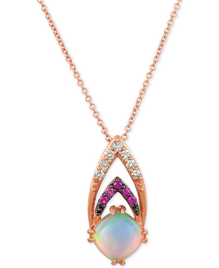 """Le Vian - Neopolitan Opal (3/4 ct. t.w.), Passion Ruby Accent & Nude Diamonds (1/10 ct. t.w.) 18"""" Pendant Necklace in 14k Rose Gold (Also Available with Blueberry Sapphire accent)"""