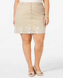 Karen Scott Plus Size Printed Skort, Created for Macy's