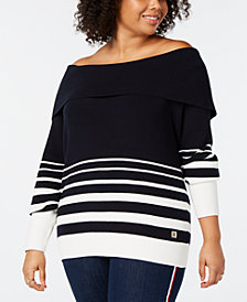 Tommy Hilfiger Plus Size Striped Off-The-Shoulder Cotton Sweater, Created for Macy's