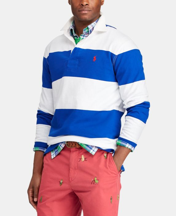 Polo Ralph Lauren Mens Iconic Cotton Rugby Shirt, Blue, Size: S