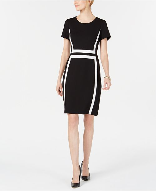 Connected Short-Sleeve Colorblocked Sheath Dress