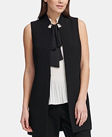 Notched-Lapel Sleeveless Blazer