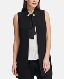 DKNY Notched-Lapel Sleeveless Blazer