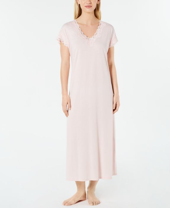 Charter Club Lace-Trimmed Soft Knit Nightgown, Pink, Size: M