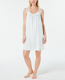 Charter Club Lace Trim Long Soft Knit Nightgown, Created for Macy's