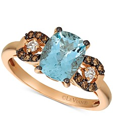 Le Vian® Aquamarine (1-9/10 ct. t.w.), Chocolate Diamond (1/8 ct. t.w.) and Diamond Accent Ring in 14k Rose Gold