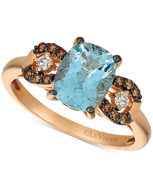 Le Vian Aquamarine (1-9/10 ct. t.w.), Chocolate Diamond (1/8 ct. t.w.) and Diamond Accent Ring in 14k Rose Gold