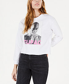 Bravado Juniors' Tupac Cropped Graphic Sweatshirt