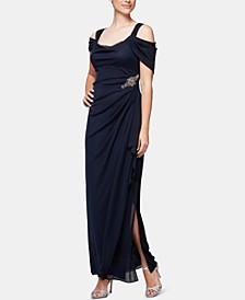 Petite Embellished Cold-Shoulder Gown