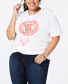 Love Tribe Trendy Plus Size Cotton Dreamcatcher Graphic-Print T-Shirt