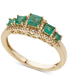Emerald (3/4 ct. t.w.) & Diamond (1/6 ct. t.w.) Ring in 14k Gold (Also Available in Ruby & Sapphire)