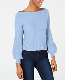 Bar III Bishop-Sleeve Fuzzy Textured Sweater, Created for Macy's