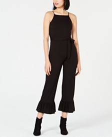 Bar III Belted Ruffle-Hem Jumpsuit, Created for Macy's