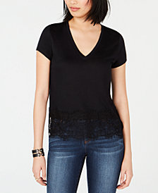 Bar III Lace-Hem V-Neck Top, Created for Macy's