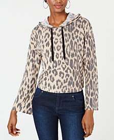 Bar III Animal Printed Cropped Hoodie, Created for Macy's