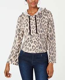 Bar III Leopard-Print Cropped Hoodie, Created for Macy's