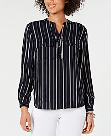 Charter Club Petite Split-Neck Striped Blouse, Created for Macy's