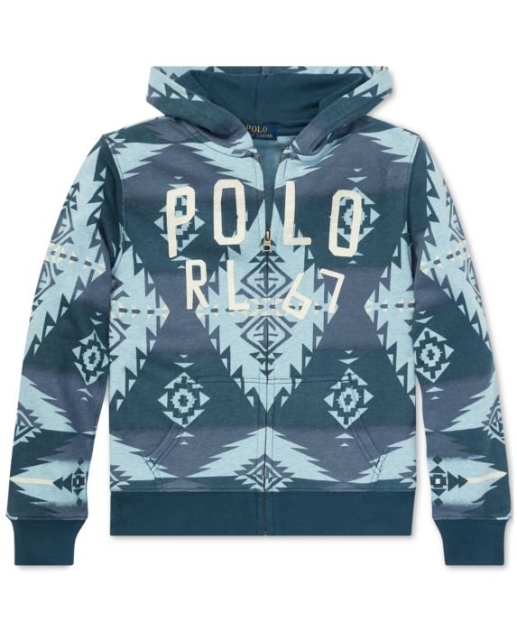 Polo Ralph Lauren Big Boys Southwestern Cotton Terry Hoodie, Blue, Size: L (14/16)