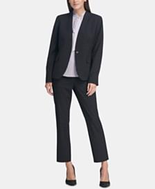DKNY Windowpane Blazer, Pleated Top & Skinny Pants