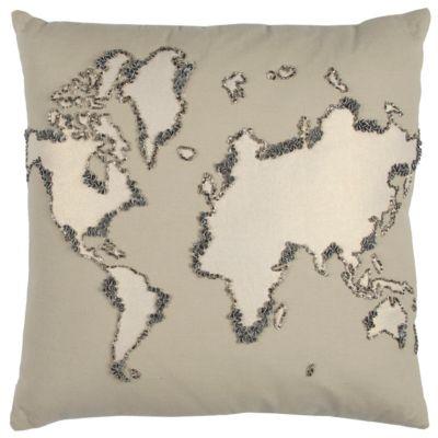 "20"" x 20"" World Map Down Filled Pillow"