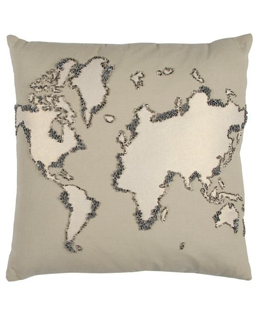 """Rizzy Home 20"""" x 20"""" World Map Down Filled Pillow"""