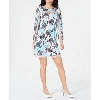 Alfani Women's Floral-Print Illusion-Trim Dress (Blue Linework Grid)