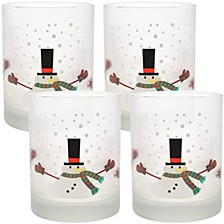Melting Snowman 14oz Frosted Double Old Fashioned Glass, Set of 4