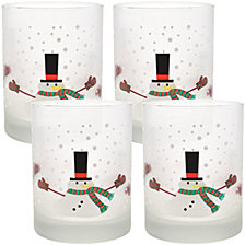 Culver Melting Snowman 14oz Frosted Double Old Fashioned Glass, Set of 4