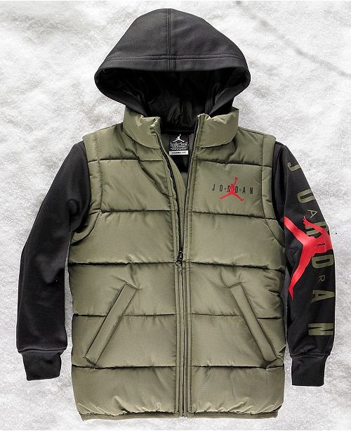 1e17688c629e20 Jordan Big Boys AJ Layered-Look Hooded Puffer Jacket   Reviews ...