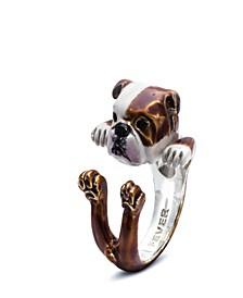 English Bulldog Hug Ring in Sterling Silver and Enamel