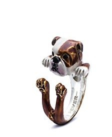 English Bulldog Hug Ring in Sterling Silver and Enamel